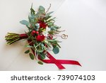wedding  beautiful bouquet of... | Shutterstock . vector #739074103