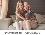 beautiful senior mom and her... | Shutterstock . vector #739083673