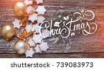 christmas stars cookies and... | Shutterstock . vector #739083973