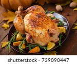 roasted turkey garnished with... | Shutterstock . vector #739090447