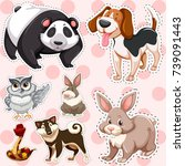 sticker set of cute animals on... | Shutterstock .eps vector #739091443