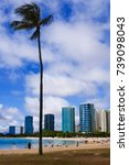 Small photo of Ala Moana Beach including the hotels and buildings in Ala Moana, Honolulu, Oahu island, Hawaii, USA