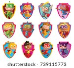 vector set of twelve frames in... | Shutterstock .eps vector #739115773