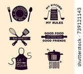 bakery shop badges and cooking... | Shutterstock .eps vector #739121143
