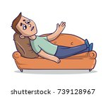 tired young man lying on the... | Shutterstock .eps vector #739128967
