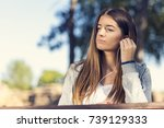 beautiful young girl with... | Shutterstock . vector #739129333