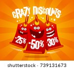 crazy discounts banner with... | Shutterstock .eps vector #739131673