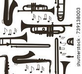 seamless pattern with musical... | Shutterstock .eps vector #739138003