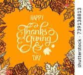 thanksgiving greeting card with ... | Shutterstock . vector #739138813