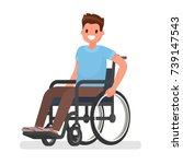man is sitting in a wheelchair... | Shutterstock .eps vector #739147543