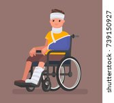 a sick man with injuries and... | Shutterstock .eps vector #739150927
