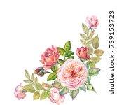 watercolor flowers corner | Shutterstock . vector #739153723