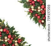 christmas festive background... | Shutterstock . vector #739157203