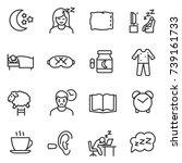 sleep icon set  thin line... | Shutterstock .eps vector #739161733