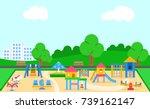 childrens playground vector... | Shutterstock .eps vector #739162147