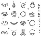 jewelry icon set  thin line... | Shutterstock .eps vector #739162153