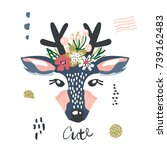 cute cartoon dear girl with... | Shutterstock .eps vector #739162483