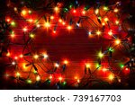 christmas colorful lights ... | Shutterstock . vector #739167703