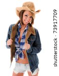 sexy cowgirl in hat  jacket and ...   Shutterstock . vector #73917709