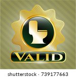 gold badge with wc toilet icon ... | Shutterstock .eps vector #739177663