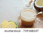 bulletproof coffee latte ... | Shutterstock . vector #739188247