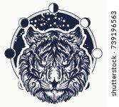 tiger tattoo. tiger portrait...   Shutterstock .eps vector #739196563