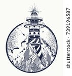 lighthouse tattoo and t shirt... | Shutterstock .eps vector #739196587