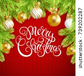 merry christmas card with fir... | Shutterstock .eps vector #739202287