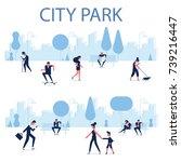 people walking on the urban... | Shutterstock .eps vector #739216447
