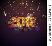 vector happy new year 2018... | Shutterstock .eps vector #739224643