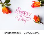 happy day card with orange... | Shutterstock . vector #739228393