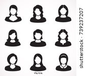 set  user icon woman. female... | Shutterstock .eps vector #739237207