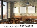 modern restaurant interior with ... | Shutterstock . vector #739240297