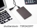 external backup disk hard drive ...   Shutterstock . vector #739242397