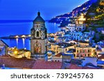 amalfi in the province of...   Shutterstock . vector #739245763