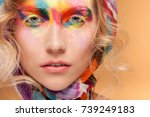 young woman with fantasy bright ... | Shutterstock . vector #739249183