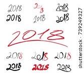 2018 handwritten sign set on... | Shutterstock . vector #739249327