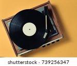 vintage vinyl turntable with... | Shutterstock . vector #739256347