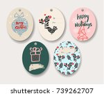 christmas vector tags. badges... | Shutterstock .eps vector #739262707