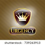 gold badge with queen crown... | Shutterstock .eps vector #739263913