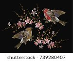 embroidery birds and blossoming ...   Shutterstock .eps vector #739280407