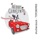 christmas card. french bulldog... | Shutterstock .eps vector #739280983