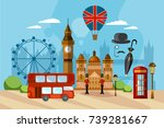 london city skyline  london... | Shutterstock .eps vector #739281667
