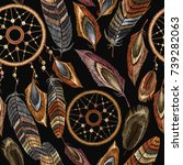 embroidery dreamcatcher boho... | Shutterstock .eps vector #739282063