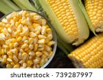 fresh corn on cobs and corn... | Shutterstock . vector #739287997