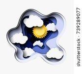 3d abstract layered paper cut...   Shutterstock .eps vector #739289077