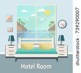 hotel room with a sea view.... | Shutterstock .eps vector #739290007