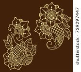 set of mehndi flower pattern... | Shutterstock .eps vector #739297447