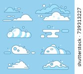 flat vector cloud set. blue sky ... | Shutterstock .eps vector #739313227
