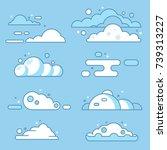 Flat Vector Cloud Set. Blue Sk...